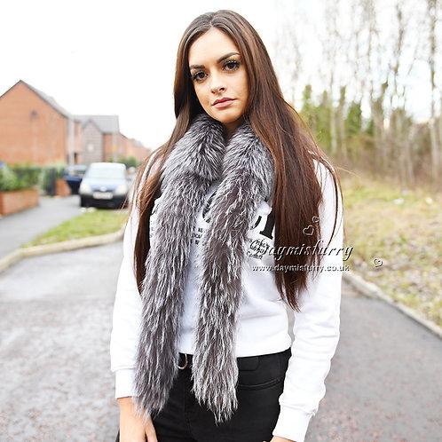 DMS179  Silver Fox Fur Boa Scarf