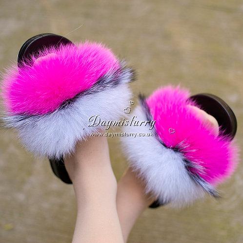 DMA100D  Fox Fur Slides - Knockout Pink