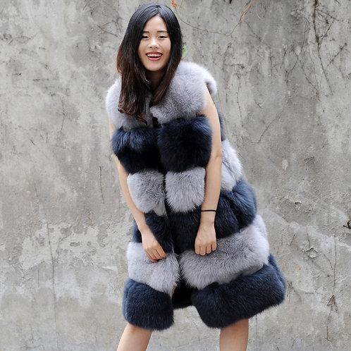 DMGB05A Super Luxury Fox Fur Horizontal Design Gilet In Grey And Black