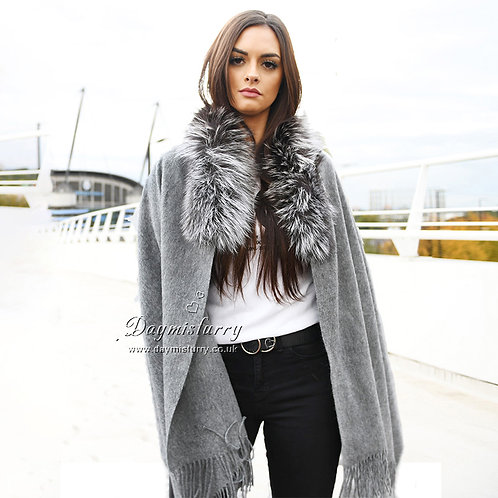 DMBP49 Wool Cape With Silver Fox Fur Collar