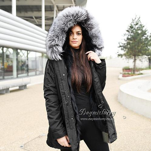 DMGP04 Rabbit Fur Parka with Silver Fox Fur Hood