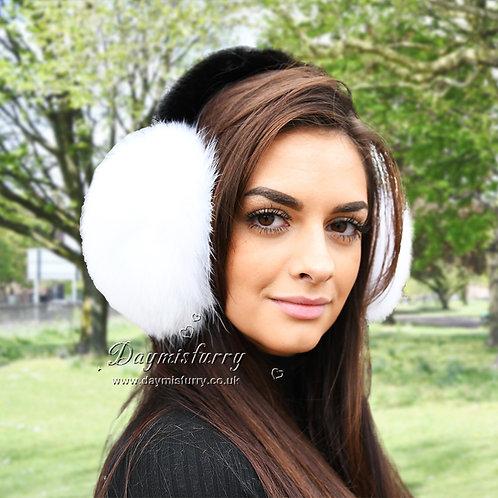 DAMA71A White Fox Fur Earmuffs With Mink Fur Band