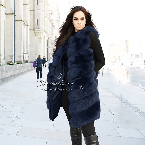 DMGB239H Fox Fur Vest / Long Vest - Navy