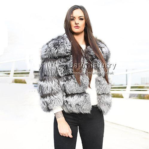 DMGA11A  Silver Fox Fur Coat