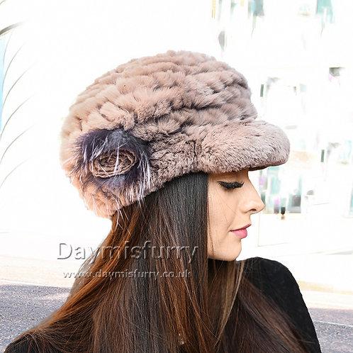 DMC23C Knit Rex Rabbit Fur Riding Hat with Silver Fox Flower