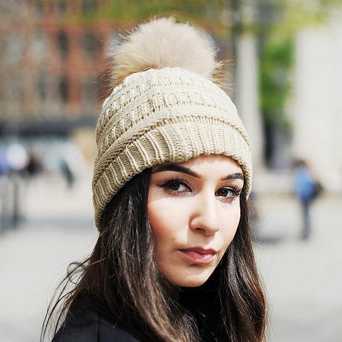 DMC34E  Knit Beanie Hat With Finn Raccoon Pom Pom