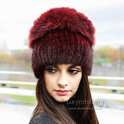 DMC57C  Mink Fur Hat Cap With Fox Fur Top
