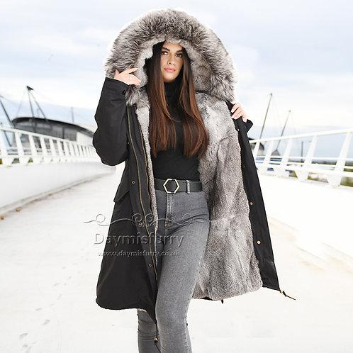 DMGP35E Rabbit Fur Coat Parka Coat with Raccoon Fur Collar
