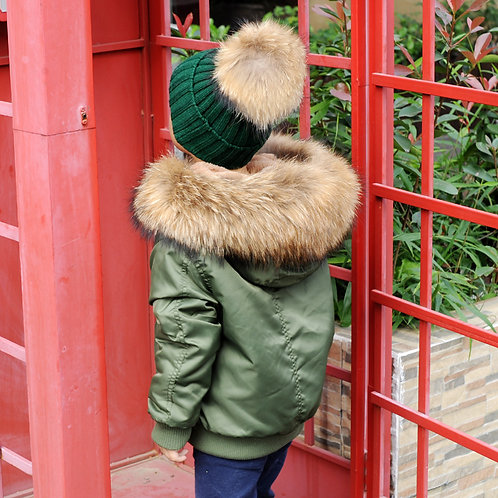 DMGC08E Waterproof Kid's Bomber With Faux Fur Lining And Raccoon Fur Hood