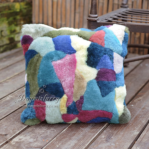DMD41 PatchWork Shearing Sheep Fur Pillow Cover