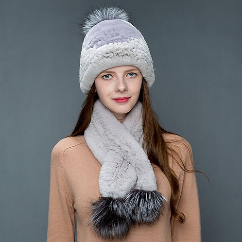 DMC18A Knit Rex Rabbit Fur Hat and Scarf Set