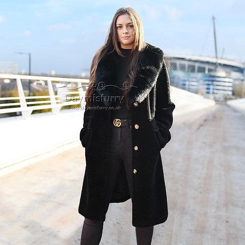 DMGT14D Black Wool Jacket Wool Coat WIth Fox Fur Collar