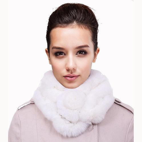 DMS15C White Rex Rabbit Fur Scarf / Winter Scarf