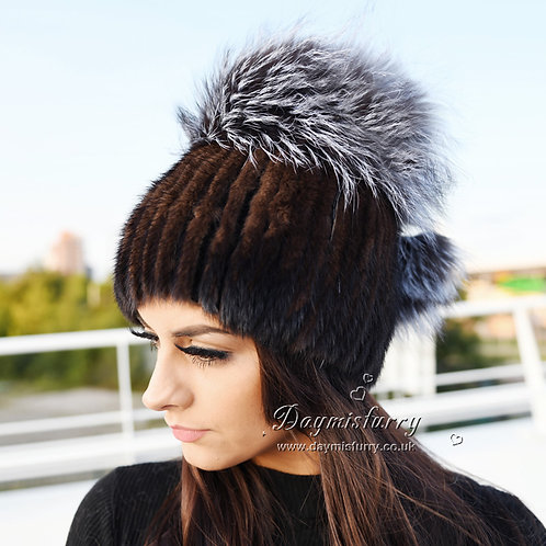 DMC56B Chocolate Mink Fur Hat Cap With Silver Fox Pom Pom