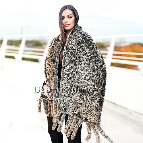 DMB66 Knit Rabbit Fur Shawl With Fringes