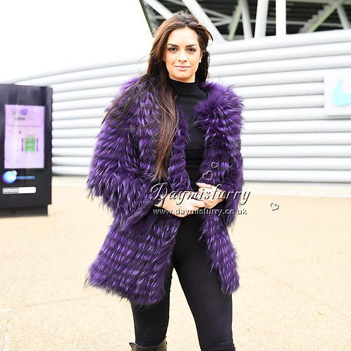 DMGA34B Dyed Raccoon Fur Lady Jacket In Ultra Violet