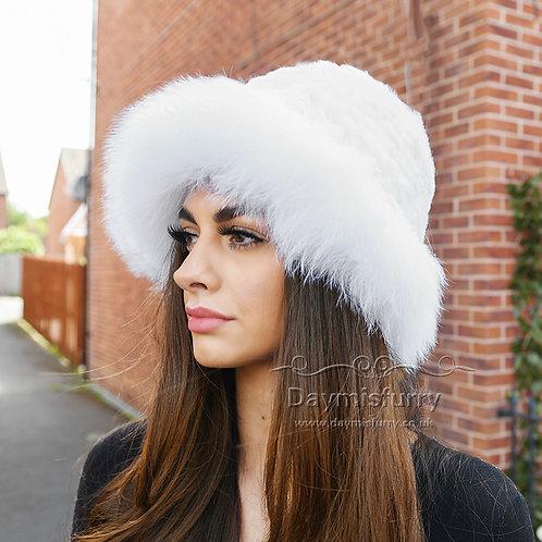 DMC02D  Rex Rabbit Fur Hat With Fox Fur Trim