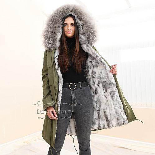 DMGP35F Rabbit Fur Parka Jacket with Raccoon Fur Collar