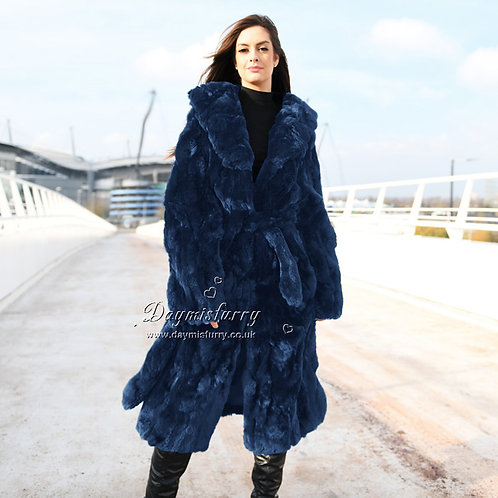 DMGA126A  Pieced Rex Rabbit Fur Coat