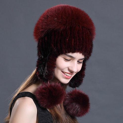 DMC61B  Mink Fur Hat With Fox Fur Top and Fox Fur Pom Poms