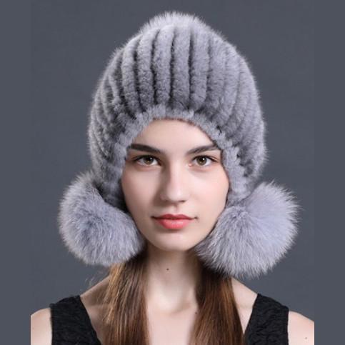 624d56751 DMC131E Knit Mink Fur Beanie Hat With Fox Fur Pom