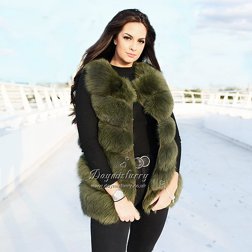DMGB04K Fox Fur Gilet in Forest Green