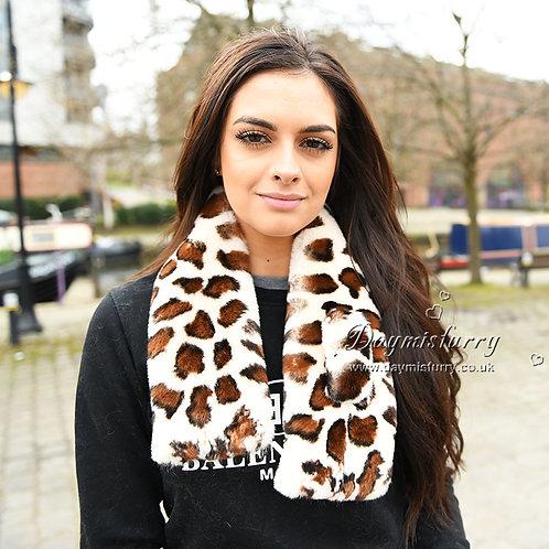 DMS09B   Leopard Print Rex Rabbit Fur Scarf