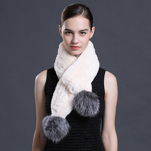 DMS111 Rex Rabbit Fur Scarf With Silver Fox Fur Pom Pom
