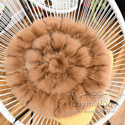 DMD35H PatchWork  Fox Fur Cushion -19.5''
