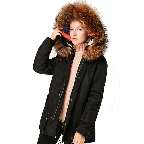 DMGP28 Colorful Mink Fur Lined Parka with Raccoon Fur Trim