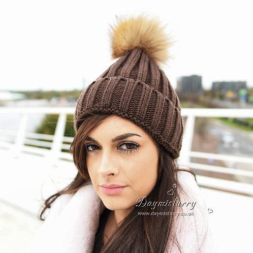 DMC237K  Raccoon Fur Pom Pom Hats