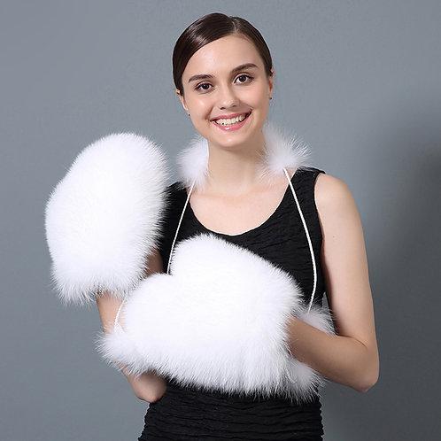 DMA67E  White Fox Fur Fur Glove / Winter Gloves