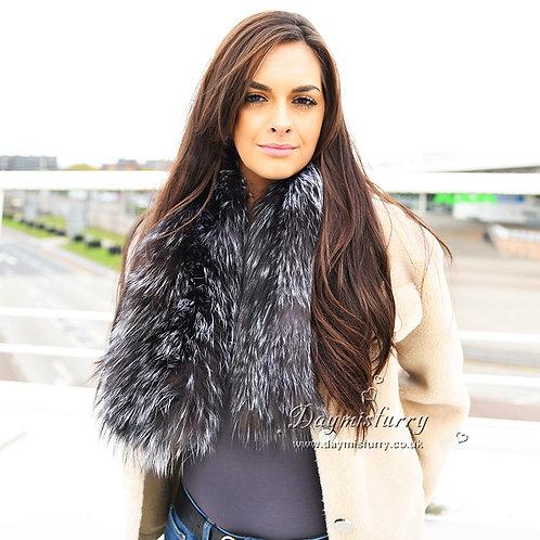 DMS117 Knit Silver Fox Fur Scarf
