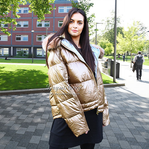 DMGD16A NEW IN Down Jacket With Fox Fur Trim