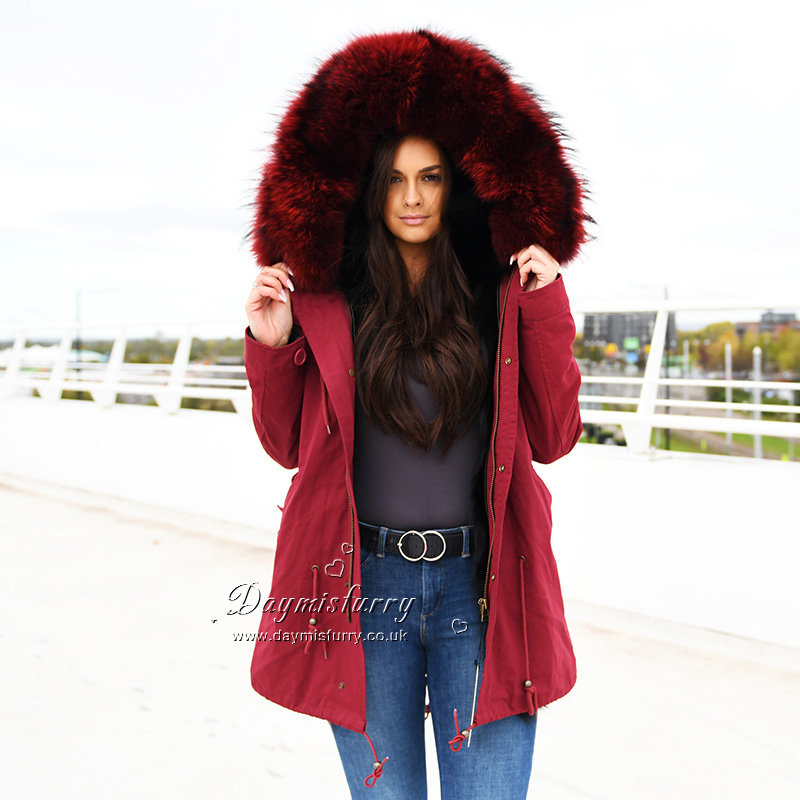 6c132b052 DMGP20B Real Fox Fur Lined Parka with Raccoon Fur Hood | daymisfurry