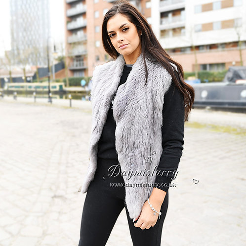 DMGB192A Knitted Dyed  Rabbit Fur Gilet