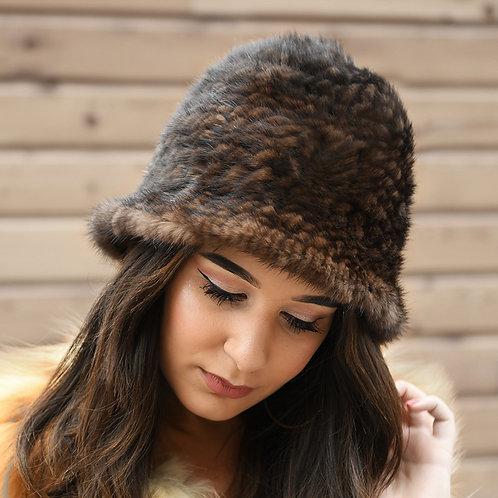DMC71G Knit Mink Fur Bucket Hat