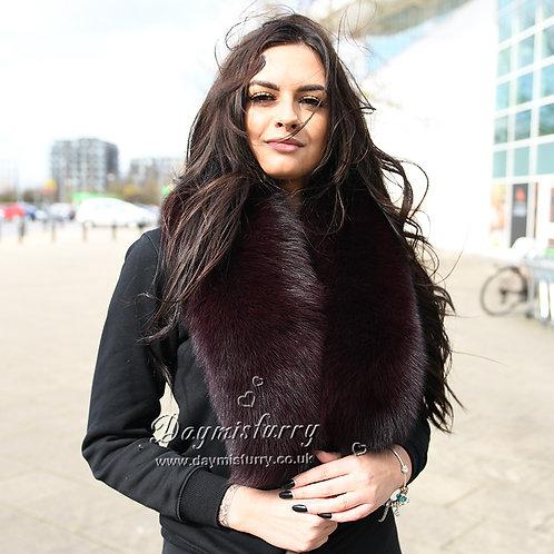 DMA78   Fox Fur Collar with Satin Ties