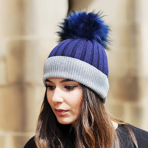 DMC45Q  Wool Beanie Hat With Raccoon Fur Pom Pom