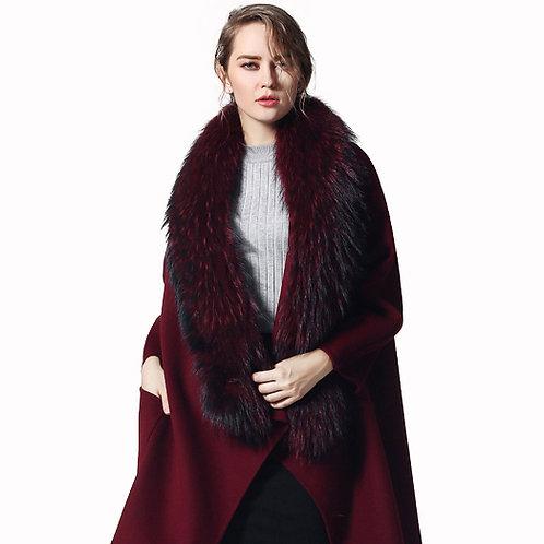 DMA89A Large Detachable Finn Raccoon Fur Collar