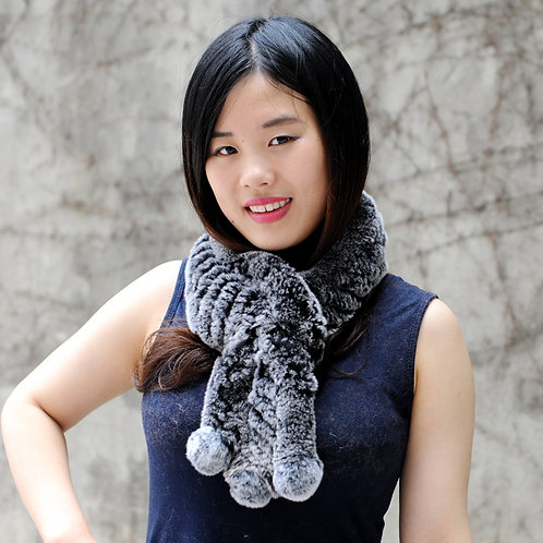 DMS18C Knitted Rex Rabbit Scarf with Small Pom Pom In Black Frost