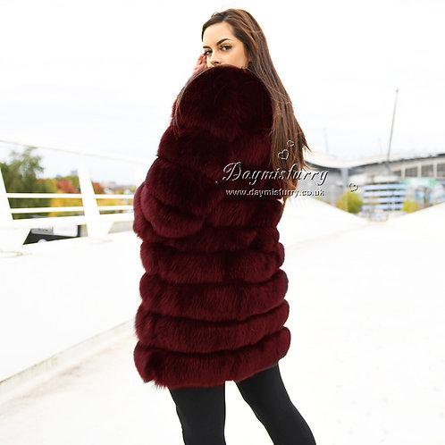 DMGA15D Fox Horizontal Fur Coat - Ruby Wine