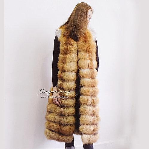 DMGB131A Red Fox Fur Horizontal Design Fur Gilet