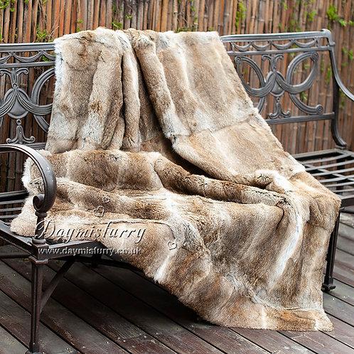 DMD08A Genuine Rabbit Fur Blanket / Fur Throw in Natural Colour