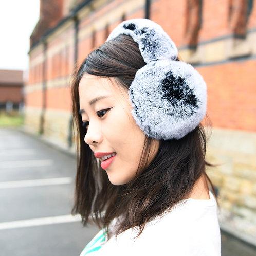 DMA40F Rex Rabbit Fur Earmuffs With Matching Fur Band