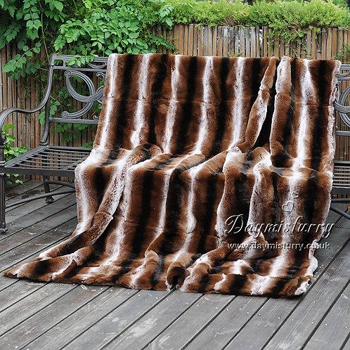 DMD58 Rex Rabbit Fur Blanket / Throw in Chinchilla Print