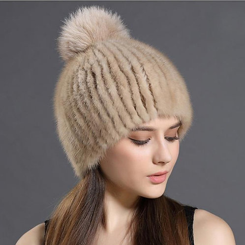 DMC164B Camel Mink Fur Beanie Hat With Fox Fur Pom Pom