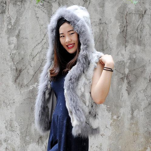 DMGB87B Rabbit fur Hooded Gilet With Raccoon Fur Trim