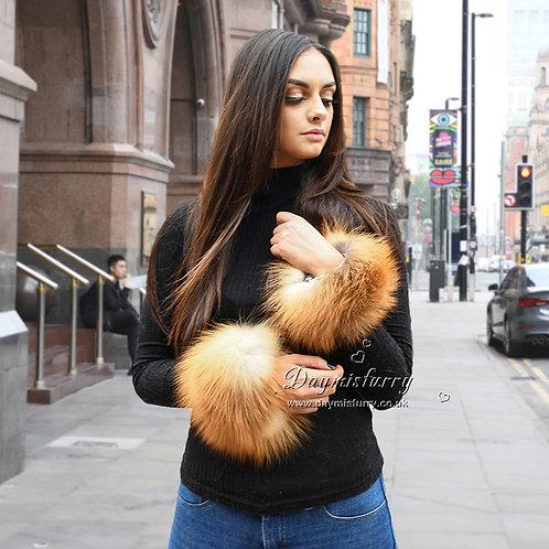 DMA86B Finn Fox Fur Slap on Cuffs / Bracelet / Fluffy Wristband