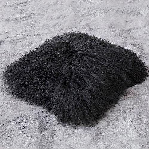 DMD04A Black Mongolian lamb Fur Pillow Case
